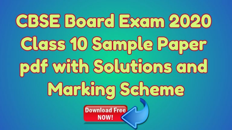 CBSE Board Exam 2020 Class 10 Sample Paper