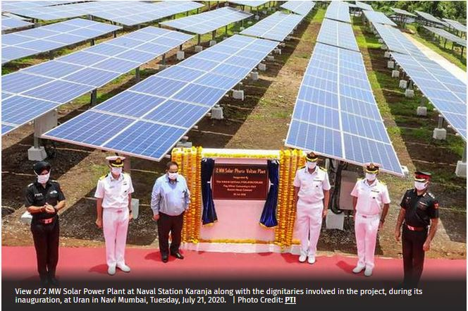 2MW Solar Power Plant launched of Indian Navy launched in Navi Mumbai