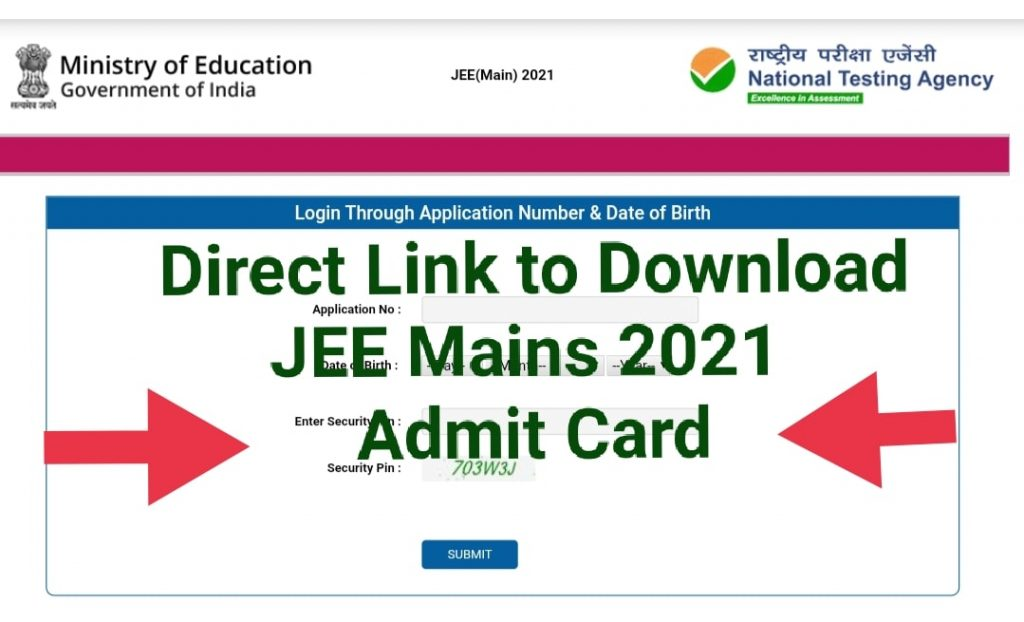 JEE Mains 2021 Admit Card